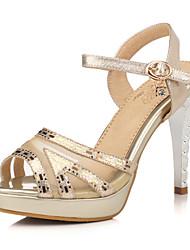 baratos -Feminino Sapatos Gliter Tule Primavera Verão Salto Agulha Plataforma Salto Alto de Cristal Para Casamento Social Festas & Noite Prata