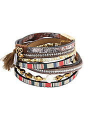 Fashion Trendy 4 Rows Crystal Set/ Multi Beads Bracelet/Fabric Tassel Stripe Pattern Leather Wrap Bracelet