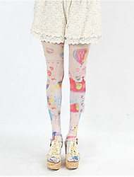 cheap -Socks / Long Stockings Sweet Lolita Dress Lolita Lolita Women's Pink Blue Lolita Accessories Print Stockings Silk