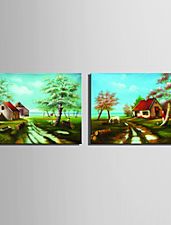 Mini Size E-HOME Oil painting Modern Garden Cottage Pure Hand Draw Frameless Decorative Painting