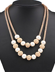 cheap -Women's Pearl Statement Necklace / Layered Necklace / Pearl Necklace - Pearl Statement, European, Fashion Gold Necklace For Party, Special Occasion, Birthday