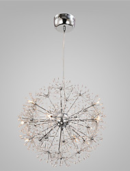Modern Chrome Pendant Lights Globe Dandelion Lights  With 15 Lights Living Room