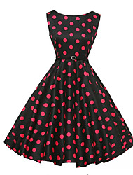 Women's Casual/Daily Vintage A Line Dress,Polka Dot Round Neck Knee-length Sleeveless Cotton Summer Mid Rise Micro-elastic