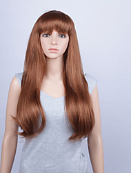 Fashion Synthetic Wigs Lace Front Wig 28inch Straight With Bang Brown Heat Resistant Hair Wig Women