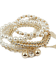cheap -Strand Bracelet Vintage Cute Party Work Casual Cute Style Fashion Stacked Beaded Gemstone & Crystal Imitation Pearl Rhinestone Alloy