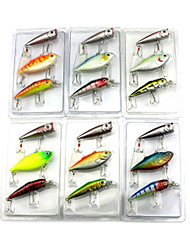 2 Sets  Mixed Plastic Minnow Popper and VIB 3pcs/Set Blister PVC Box Packaged Fishing Lures Random Colors