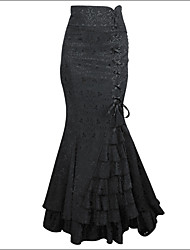 cheap -Women's Ruffle Shaperdiva Steampunk Retro Long Skirt Jacquard Fishtail Vintage Dress