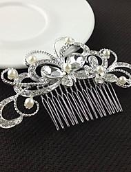 peinetas de perlas de cristal de plata para joyería de la señora banquete de boda