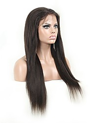 povoljno -Ljudska kosa Lace Front Perika Ravan kroj Yaki 130% Gustoća 100% rađeno rukom Afro-američka perika Prirodna linija za kosu Kratko Medium