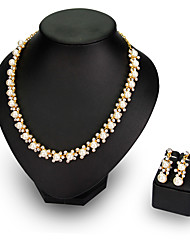 economico -Per donna Set di gioielli Perla Perle finte Strass Placcato in oro Lega Da serata Da ufficio Feste Orecchini Collane Bigiotteria