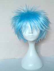 cheap -Top Quality Blue Cosplay Wigs Synthetic Hair Wig Man's Short Curly Animated Wig Party Wig 073A