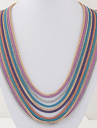 Women's Chain Necklaces Layered Necklaces Alloy Fashion Silver Red Blue Golden Rainbow Jewelry Party Daily Casual 1pc