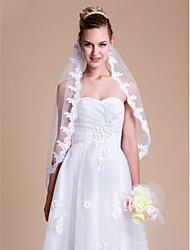 Wedding Veil One-tier Elbow Veils Lace Applique Edge 35.43 in (90cm) Tulle White Ivory