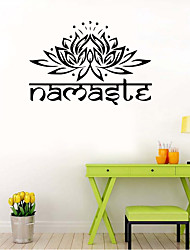 cheap -9478 Indian Namaste Words Religion Wall Decal Vinyl Lotus Yoga sticker Buddha Ganesha Home Decor Bedroom Flower Mural