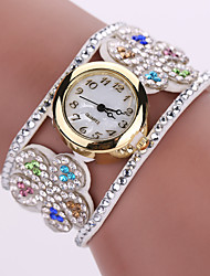 cheap -Lady's Flower Leather Band Analog Quartz Bracelet Wrist  Watch for Party