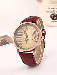 cheap -Women's Quartz Wrist Watch Hot Sale PU Band Vintage Dress Watch Fashion Black Red Brown