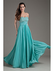 cheap -A-Line Strapless Floor Length Chiffon Prom Formal Evening Dress with Beading by XFLS