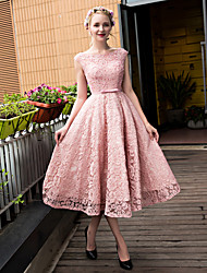 cheap -A-Line Scoop Neck Tea Length Lace Tulle Cocktail Party Homecoming Prom Dress with Beading Bow(s) Lace Pearl Detailing Sequins by QZ