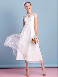 cheap -A-Line Illusion Neckline Tea Length Organza Wedding Dress with Appliques Lace Sash / Ribbon Bow by LAN TING BRIDE®