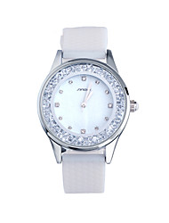 SINOBI Women's Fashion Watch Casual Watch Floating Crystal Watch Quartz Water Resistant / Water Proof Silicone Band White