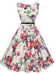 Women's Daily Vintage A Line Skater Dress,Floral Print Round Neck Knee-length Sleeveless Polyester Summer Mid Rise