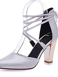 お買い得  -女性用 女の子 靴 レザーレット 春 夏 チャンキーヒール リボン のために 結婚式 オフィス&キャリア ドレスシューズ ホワイト ブラック ベージュ レッド