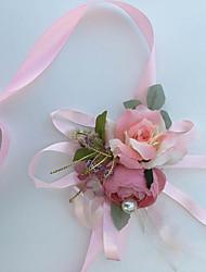 Недорогие -Свадебные цветы Букетик на запястье Свадьба Вечеринка / ужин Шелк Хлопок Около 2 см