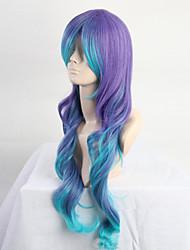 Недорогие -Парики из искусственных волос Кудрявый / Крупные кудри Ассиметричная стрижка Искусственные волосы Природные волосы Синий Парик Жен.