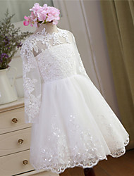 Ball Gown Knee Length Flower Girl Dress - Lace Tulle Long Sleeves Jewel Neck with Lace