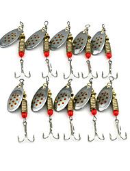 Hengjia 10pcs Deluxe Quality Spoon Metal Fishing Lures 63mm 5.1g Spinner Baits Random Colors