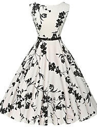 cheap -Women's Vintage Cotton A Line Dress - Floral Print