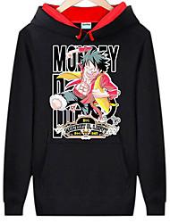 billige -Inspireret af En del Monkey D. Luffy Anime Cosplay Kostumer Cosplay Hættetrøjer Trykt mønster Langærmet Top Til Herre Halloween Kostumer