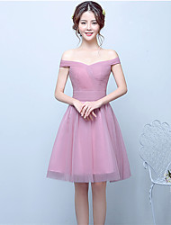 Ball Gown Off-the-shoulder Knee Length Tulle Bridesmaid Dress with Draping by Yaying