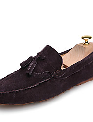 Men's Loafers & Slip-Ons Spring Fall Comfort Light Soles Bullock shoes Cowhide Outdoor Office & Career Casual Flat Heel TasselGray Brown