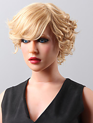 cheap -New Stylish Short Wavy Fluffy Wig Remy Human Hair Hand Tied -Top Emmor Wigs for Woman