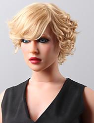 neue stilvolle kurze wellige flauschige Perücke remy Menschenhaar Hand -top Emmor Perücken für Frau gebunden
