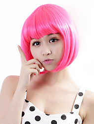 cheap -Synthetic Wig Straight Bob Haircut Pink Women's Capless Carnival Wig Halloween Wig Synthetic Hair