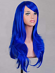 cheap -Synthetic Wig Curly / Natural Wave Asymmetrical Haircut Synthetic Hair Natural Hairline Blue Wig Women's Medium Length / Long Cosplay Wig
