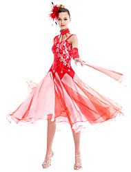 baratos -Dança de Salão Roupa Mulheres Espetáculo Elastano Crepe Renda Apliques Cristal/Strass Lantejoula Vestido Neckwear Braceletes Decoração de