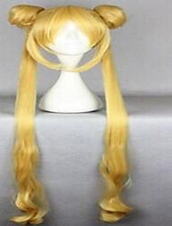 Mulher Perucas sintéticas Muito longo Ondas Leves Amarelo Loira Perucas para Fantasia