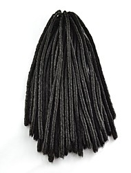 #1B / Black Crochet Dread Locks Hair Extensions 18 Kanekalon 2 Strand 100g gram Hair Braids