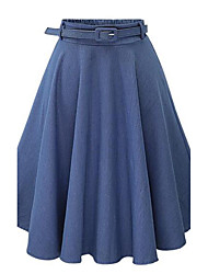 Women's Daily Midi Skirts,Casual Street chic A Line Cotton Solid All Seasons