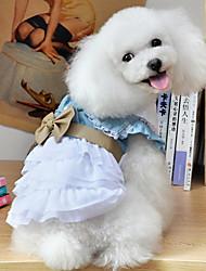 abordables -Chien Robe Vêtements pour Chien Jeans Floral / Botanique Nœud papillon Bleu clair Coton Térylène Costume Pour les animaux domestiques