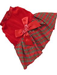 abordables -Chien Robe Vêtements pour Chien Tartan Rouge Grille Térylène Costume Pour les animaux domestiques