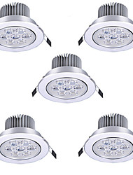 5pcs 7W LED Recessed Lights Recessed Retrofit 7 High Power LED 650lm Warm White Cold White 3000K/6500K AC85-265V