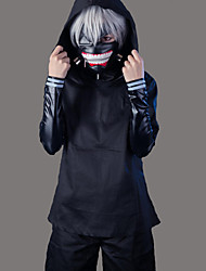 cheap -Inspired by Tokyo Ghoul Ken Kaneki Anime Cosplay Costumes Cosplay Suits Solid Colored Long Sleeve Coat / Top / Pants For Men's