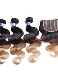Haar-Einschlagfaden mit Verschluss Malaysisches Haar Große Wellen 12 Monate 4 Stück Haar webt