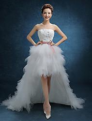 a-line senza spalline asimmetrica abito da sposa in tulle con pizzo da parte dell'amante
