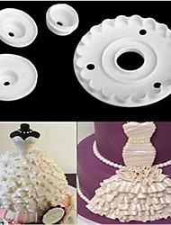 Lace Skirt Rim Plunger Cutter Doll Decorate Cake Mold Sugarcraft Fondant Kitchen Baking Cookie,Set of 4
