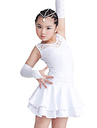 cheap -Latin Dance Dresses Children's Performance Polyester Spandex Lace Tier Crystals/Rhinestones Sleeveless Dress Gloves